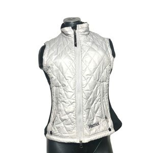 Marmot White Zip Up Quilted Vest Jacket Womens